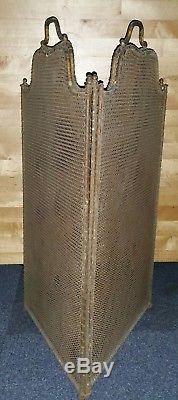 Ancien pare-feu de cheminée à 4 volets maille de fer XIXe