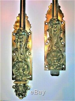 Ancien verrou vertical targette cremone fer et bronze deco serrure fermeture