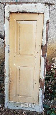 Ancienne Boisserie. Placard. Porte avec Cadre. En Bois Peint. 157 x 59 cm