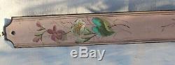 Ancienne Grande Plaque De Porte Emaillee De Propriete Poignee Motif Fleurs 90cm