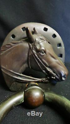 Ancienne Grosse Poignée Heurtoir Bronze Décor Cheval 1950/60 D2087