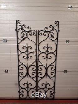 Ancienne PAIRE de GRILLES FER FORGÉ portes séparations complètes Haut 160