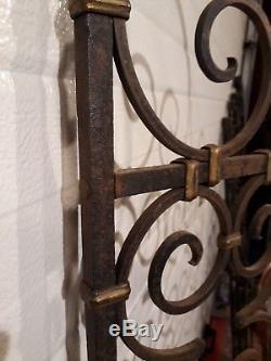 Ancienne PAIRE de GRILLES FER FORGÉ portes séparations complètes Haut 176