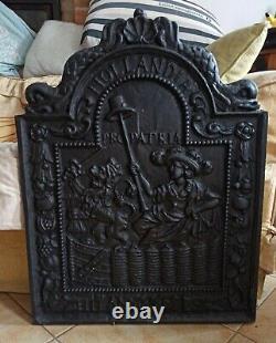 Ancienne Plaque De Cheminee En Fonte