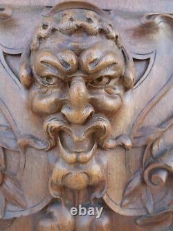 Ancienne Porte Bois Sculptée noyer meuble ancien diable faune demon