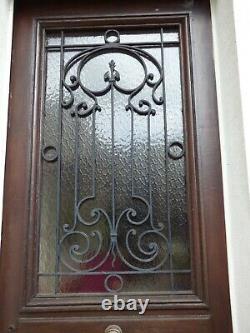 Ancienne Porte D'entree Chene Et Grille Vitree Fer Forge Ouvrante Vers 1927
