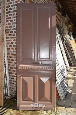 Ancienne Porte D'entree En Sapin / 83.5 Cms X 2m28 De Haut