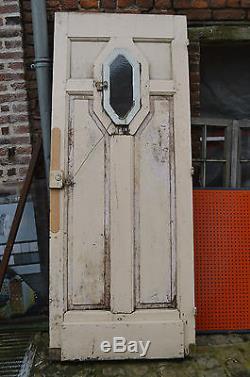 Ancienne Porte D'entree En Sapin Style Art Deco / 89.5 Cms X 2m22 De Haut