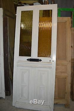 Ancienne Porte D'entree Vitree En Sapin / 87.5 Cms De Large X 218 Cms De Haut