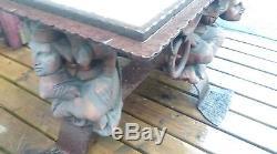 Ancienne TABLE NÉOGOTHIQUE ferronnerie, château, vintage, atelier, artiste, fou, roi