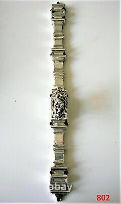 Ancienne cremone bronze argenté poignée dragon fenetre chateau maison maitre FT