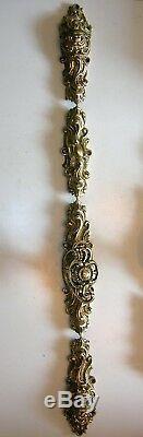 Ancienne cremone bronze poignee porte fenetre deco chateau maison maitre N°3