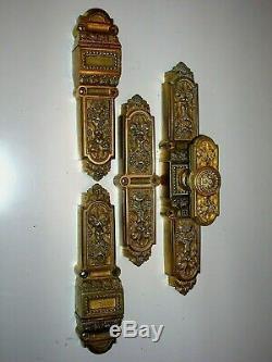 Crémone en applique vintage Louis XV porte//fenêtre dorée à l/'or fin en laiton