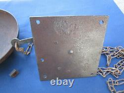 Ancienne grosse sonnette chaîne porte de magasin boutique dia. Cloche 18 cm fer
