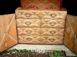 Ancienne malle commode très déco coffre intérieur tissu d'époque