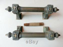 Ancienne paire Poignée de Porte cochère en Bronze sculptée XIX ème