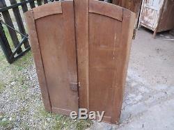 Ancienne paire de porte meuble en bois chêne arrondie église chapelle