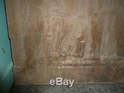Ancienne paire panneaux pierres sculptées éléphant Inde
