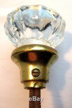 Ancienne poignée de porte XIXème, 2 boules verre à 12 côtes, viroles laiton