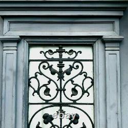 Ancienne porte d'entrée Grille en fer de fonte Sapin massif XX siècle