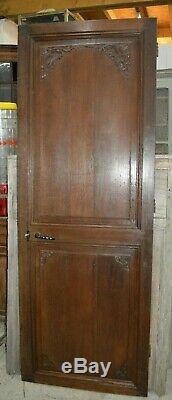Ancienne porte de communication en chêne / 76 cms x 2 m 08 de haut