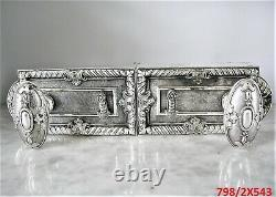 Ancienne serrure bronze argenté poignée porte fenetre chateau maison maitre