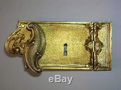 Ancienne serrure bronze doré poignée gache architecture chateau maison maitre ST