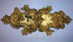 Ancienne serrure en bronze doré poignée porte gache chateau maison maitre