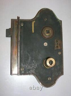 Ancienne serrure en bronze et fer poignée porte deco architecture chateau FT