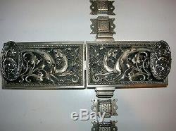 Ancienne serrure en bronze poignée cremone chateau maison maitre deco dragon FT
