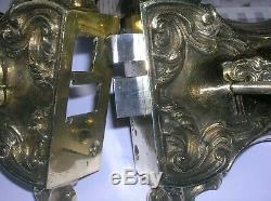 Ancienne serrure en bronze poignée porte fenetre deco chateau maison maitre