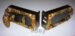 Ancienne serrure fer et bronze doré poignée gache chateau maison maitre