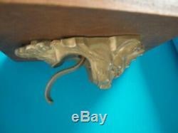 Ancienne sonnette de porte en bronze tête de lion langue articulée curiosité