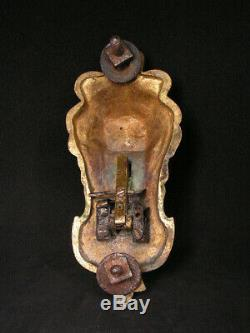 Ancienne sonnette de porte en bronze tete de lion langue articulée curiosité