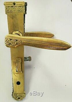 Ancienne superbe poignées de porte Art Deco en bronze signé