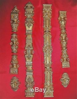 Anciens elements de cremones en bronze doré fenetre deco chateau maison maitre