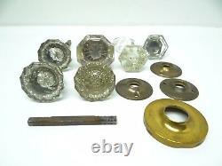 Antique Ancien Verre Assortiment Lot Hardware Poignées de Porte Boutons Pièces