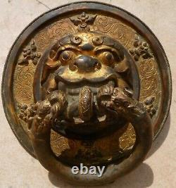 Art asiatique Poignee de porte en bronze du Tibet fin XXème