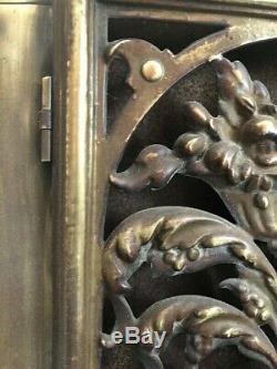 Art nouveau Devant Cheminée ou Pare feu Bronze/Laiton XIXe ou avant 2 Portes