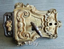 Belle Serrure Ancienne Décorée Et Gche Louis XV En Bronze 19e Chteau, Manoir