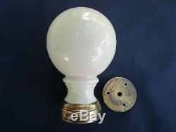 Boule rampe pilastre escalier porcelaine crème ancienne diamètre 9 cm