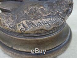 Bronze animalier argenté Cocq au lézard signé J. Moigniez 1835/1894
