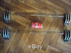 Deux jolies grandes poignée de porte de magasin en verre design 20 ème déco loft
