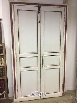Double porte Haussmannienne intérieure en bois blanc France Epoque XIXeme
