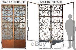 Double porte en fer forgé 1940 et contre-porte vitrée