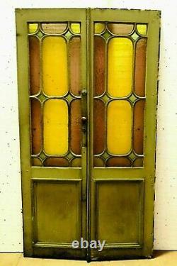 Double portes Art Déco en sapin patiné XX siècle