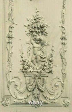 Double portes de passage en bois et stuc patiné Décor d'angelot