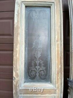 Double portes vitres gravées sablées anciennes