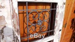 Élément Architecture Maison Villa Porte entrée Chêne Massif 3 Grille Fonte 1930
