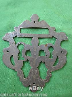 Entrée 2 trous serrure porte fer forgé ouvragée gravée ancienne 13,6 x 16 cm